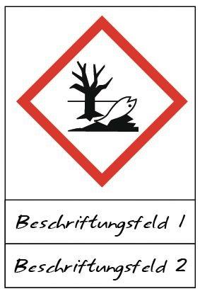 Umwelt - Gefahrstoffsymbole mit Schutzlaminat, Beschriftungsfeld, GHS/CLP