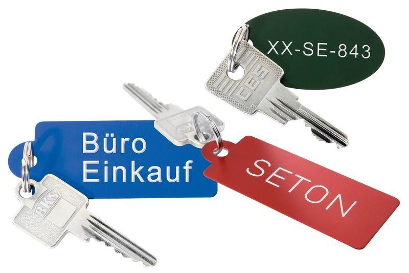Schlüsselschilder aus eloxiertem Aluminium, individuell graviert