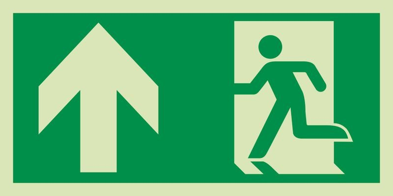 Notausgang links oben - XTRA-GLO Rettungszeichen Kombischilder, EN ISO 7010