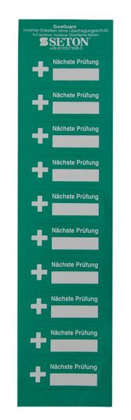 Nächste Prüfung - DuraGuard Prüfsiegel für Erste-Hilfe-Ausrüstung