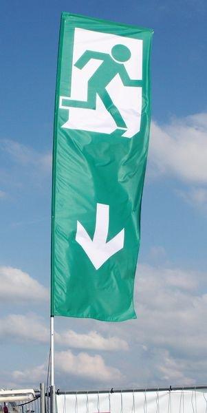 Eingang - Bauzaun- und Containerfahnen im Großformat - Rettungszeichen neue ASR A1.3, EN ISO 7010