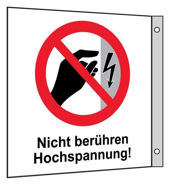 Nicht berühren, Hochspannung - Fahnen- und Winkelschilder, Elektrotechnik