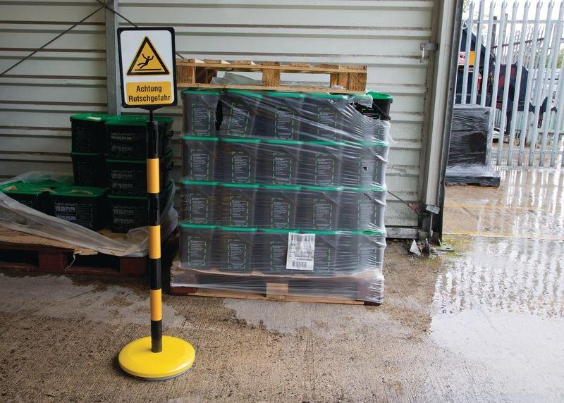 Warnung vor Flurförderzeugen – Warnschilder für Stahlpfosten - Absperrpfosten und Absperrketten