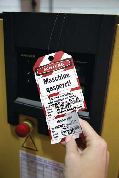 Maschine gesperrt! – Lockout-Anhänger, mit Kontrollabschnitt