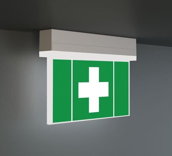 LED-Scheiben Notleuchte, DIN EN 60598-1, DIN EN 60598-2-22 und DIN EN 1838 - Sicherheitskennzeichnung und Rettungszeichen