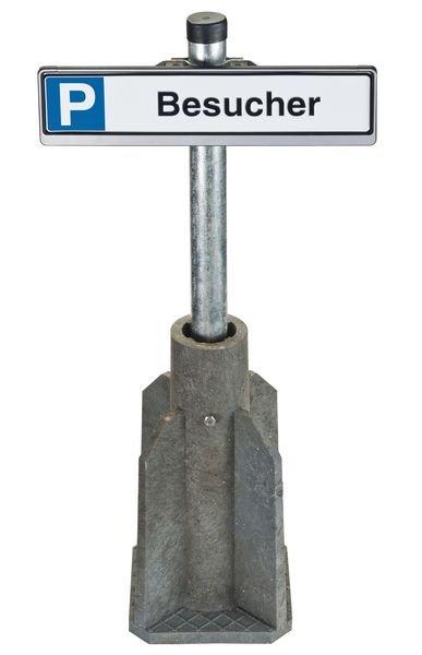 Parkplatz-Reservierungssystem mit Fundament und Wechselrahmen