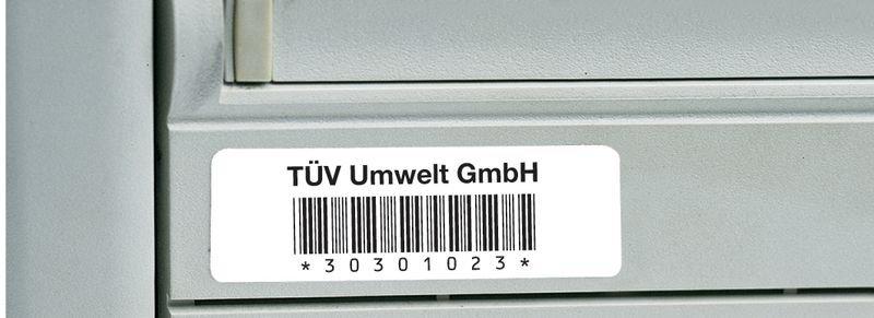 Barcode-Etiketten mit Text und Nummerierung nach Wunsch, Polyester, übertragungssicher