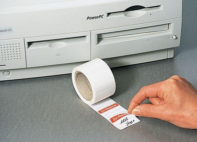 Zur Reparatur - Papieretiketten zur Qualitätssicherung, auf Rolle, wiederablösbar