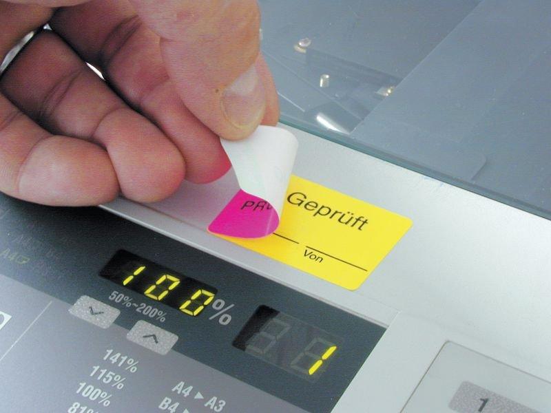 Zur Prüfung/Geprüft - Kontroll-Etiketten, zweiteilig - Qualitätsaufkleber und farbige Klebeetiketten