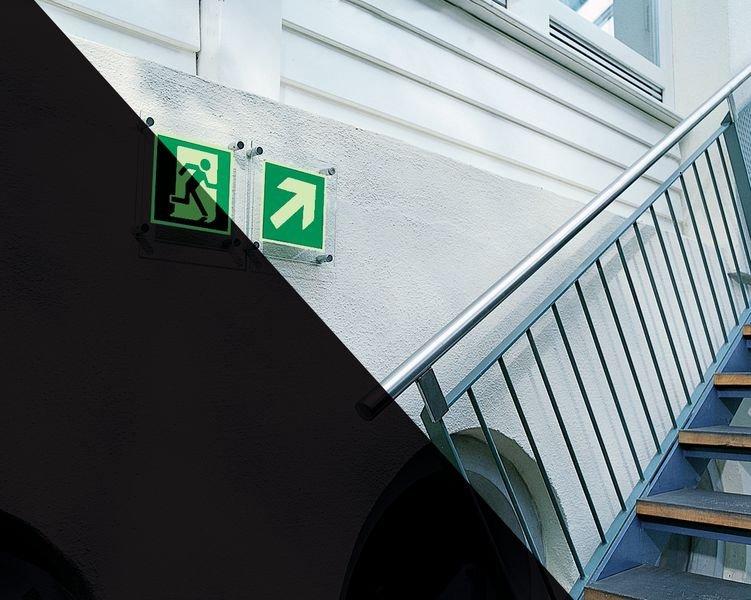 XTRA-GLO Notausgang links - ELEGANCE Rettungszeichen, langnachleuchtend, EN ISO 7010
