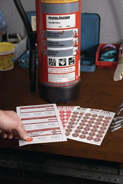 Feuerlöscher-Prüfkennzeichnung - Grundplakette mit Text und Logo nach Wunsch gemäß BGR 133 - Beschriftbare Etiketten