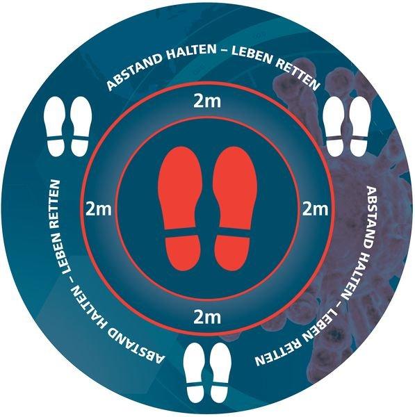 ABSTAND HALTEN - LEBEN RETTEN, rund - SetonWalk Bodenmarkierung, R10 nach DIN 51130/ASR A1.5/1,2