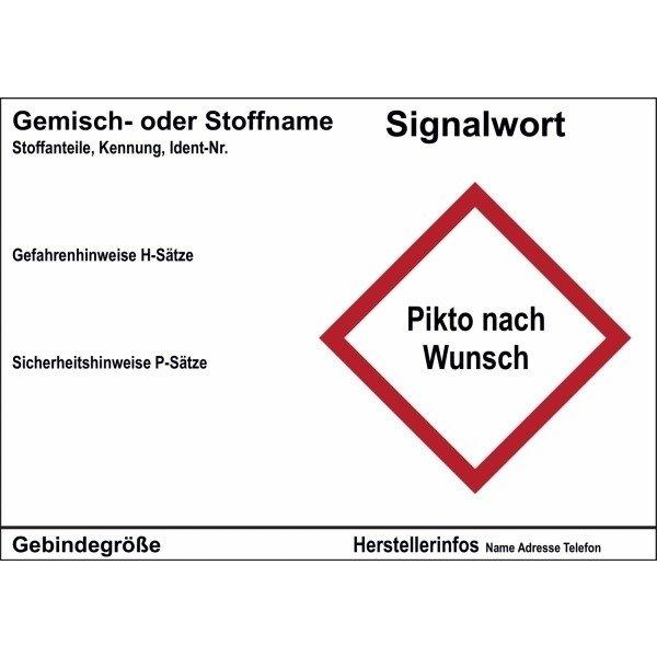 Gefahrstoffetiketten, individuell, GHS/CLP