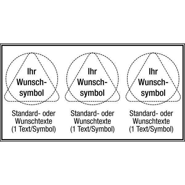 Mehrsymbol-Schilder mit 3 Symbolen und Text nach Wunsch, ASR A1.3-2013 und EN ISO 7010