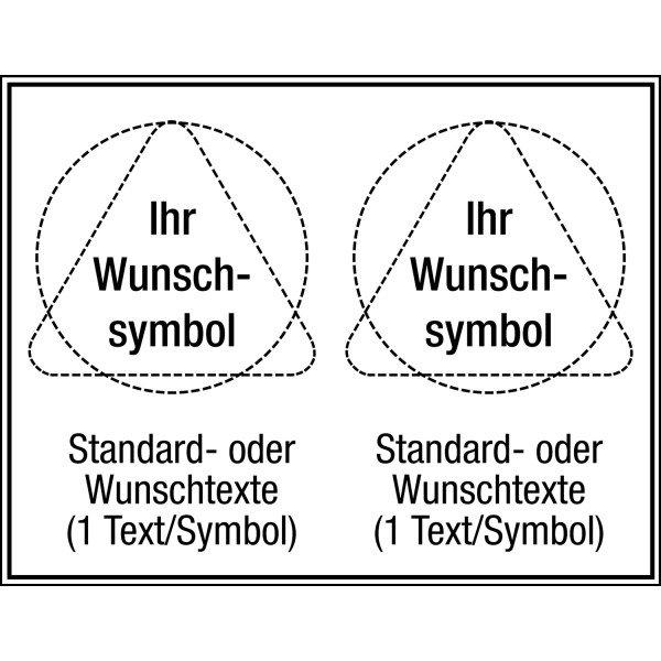 Mehrsymbol-Schilder mit 2 Symbolen und Text nach Wunsch, ASR A1.3-2013 und EN ISO 7010