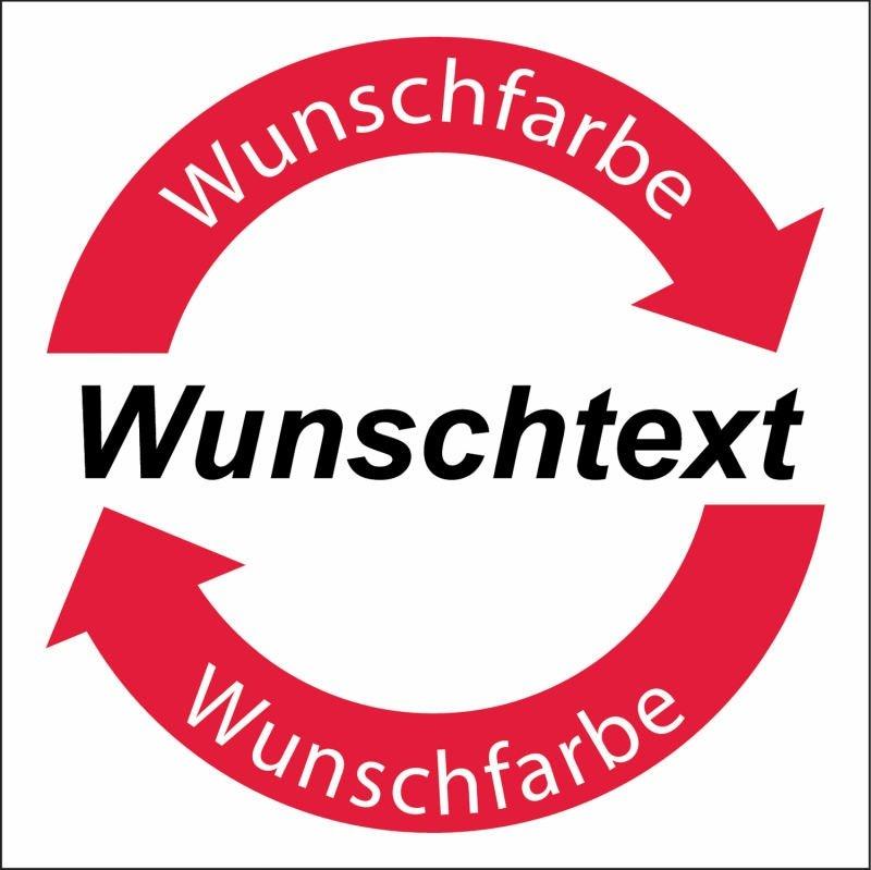 Symbol-Wertstoff-Aufkleber / Schilder Text nach Wunsch