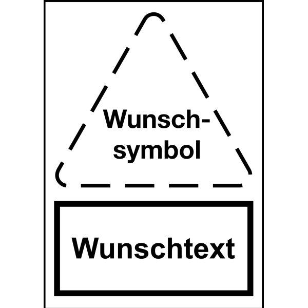 Warnaufsteller mit Symbol und Text nach Wunsch, stabil
