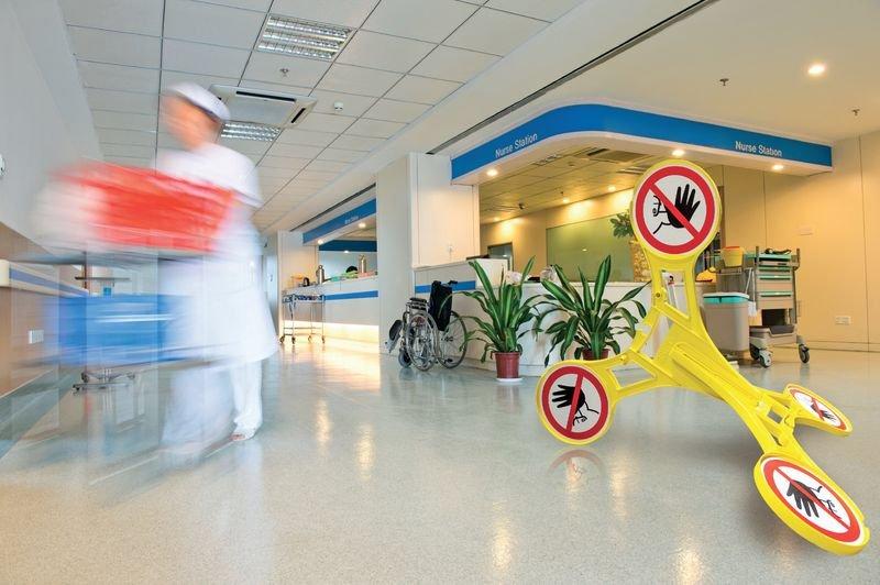 Zutritt für Unbefugte verboten - SETON Warnaufsteller 360 mit Verbotszeichen, praxiserprobt