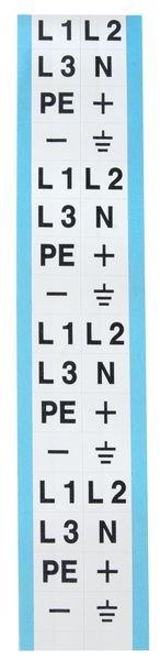 L1,L2,L3,PE,+,- – Etiketten zur Kennzeichnung von Spannung, Phase, Erdung, Isolation