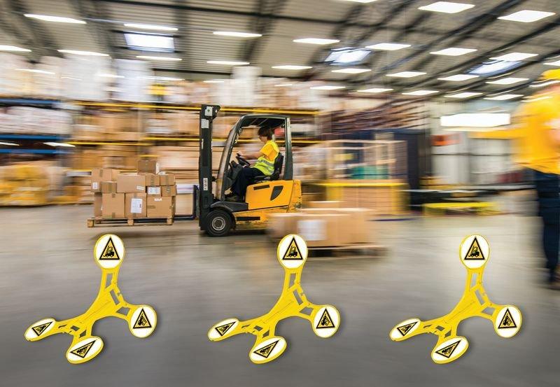 Warnung vor Flurföderzeugen - SETON Warnaufsteller 360 mit Warnzeichen nach EN ISO 7010