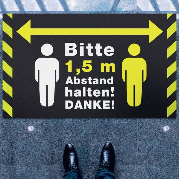 Bitte 1,5 m Abstand halten! DANKE! - Schmutzfangmatte Logotex
