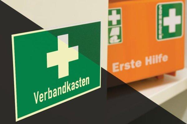 Erste-Hilfe-Kombi-Schilder, praxiserprobt mit Symbol und Text nach Wunsch - Sicherheitskennzeichnung und Rettungszeichen