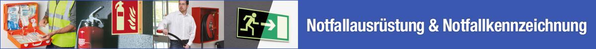 Notfallausrüstung und Notfallkennzeichnung