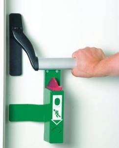 Einhand-Türwächter mit Voralarm für Panikstange