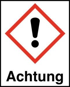 Symbol Ausrufezeichen nach GHS mit Signalwort Achtung