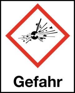 Symbol Explodierende Bombe nach GHS mit Signalwort Gefahr