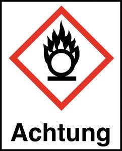 Symbol Flamme über einem Kreis nach GHS mit Signalwort Achtung