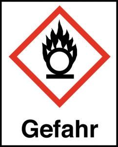 Symbol Flamme über einem Kreis nach GHS mit Signalwort Gefahr
