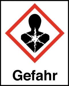 Symbol Gesundheitsgefahr nach GHS mit Signalwort Gefahr