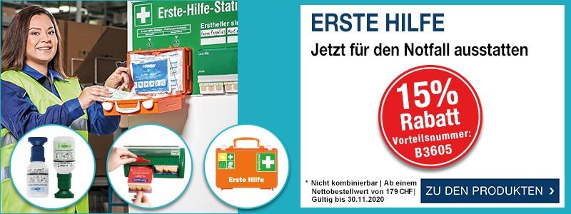 Erste Hilfe - jetzt für den Notfall ausstatten 15 % Rabatt ab 179,- CHF mit der Vorteilsnummer B3605