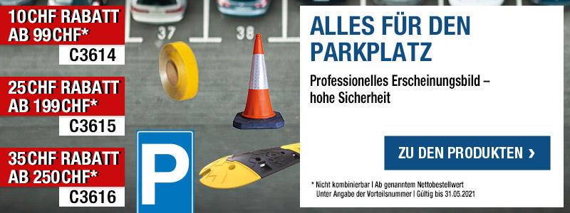 Alles für den Parkplatz - 99 CHF Rabatt ab 499 CHF mit der Vorteilsnummer C3607