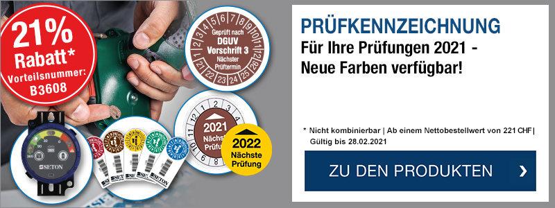 Prüfkennzeichnung - 2021 kann kommen! -  Jetzt 21 % Rabatt ab 221 CHF sichern mit der Vorteilsnummer B3608