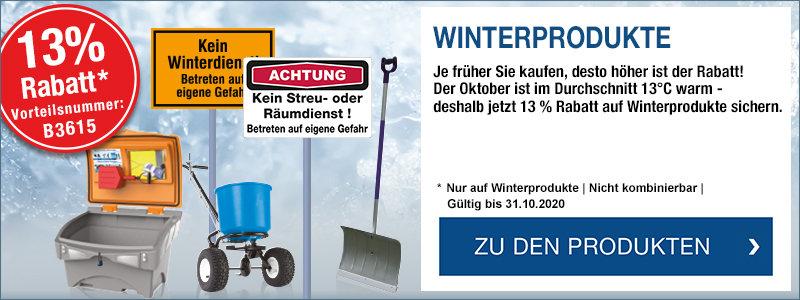 Winterprodukte - Je früher Sie kaufen, desto mehr sparen Sie. Jetzt 13 % Rabatt sichern mit der Vorteilsnummer B3615