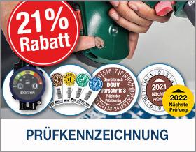 21 % Rabatt auf Prüfkennzeichnung sichern mit der Vorteilsnummer B3608