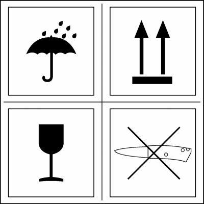 Kombi-Versandetiketten Vier Symbole