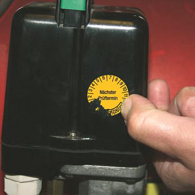 SETON Prüfplakette aus selbstzerstörender Transferfolie