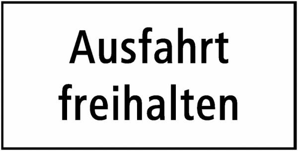 Ausfahrt freihalten Zusatztafel Schweiz