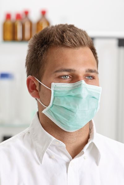 Einmal-Mundschutz mit Elastikband und Nasenbügel