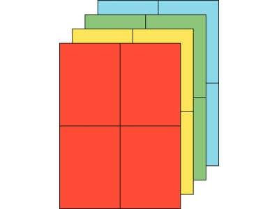 Permanent haftende Papieretiketten in verschiedenen Farben