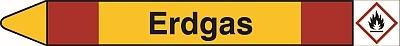gelber pfeil mit roten streifen, text: erdgas, gefahrenpiktogramm: rotumrandete raute mit schwarzem flammensymbol auf weissem grund