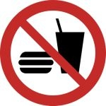 Piktogramm Hamburger und Becher durchgestrichen nach ISO