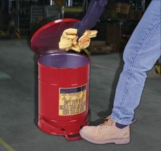 Abfalleimer aus Metall mit Deckel für brandgefährdete Abfälle