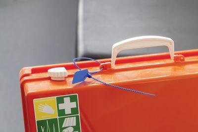 Kunststoff-Durchziehplombe PULL TITE, blau, mit Lasche zur individuellen Beschriftung