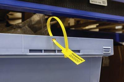 Kunststoff-Ringplombe POLYCHECK, gelb mit Lasche, mit Nummerierung und individueller Beschriftung