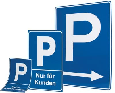 Parkplatzschilder aus Folie, Kunststoff oder Aluminium