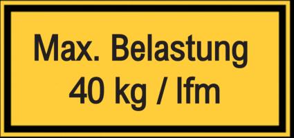 Vorlage: Max. Belastung 40 kg / lfm